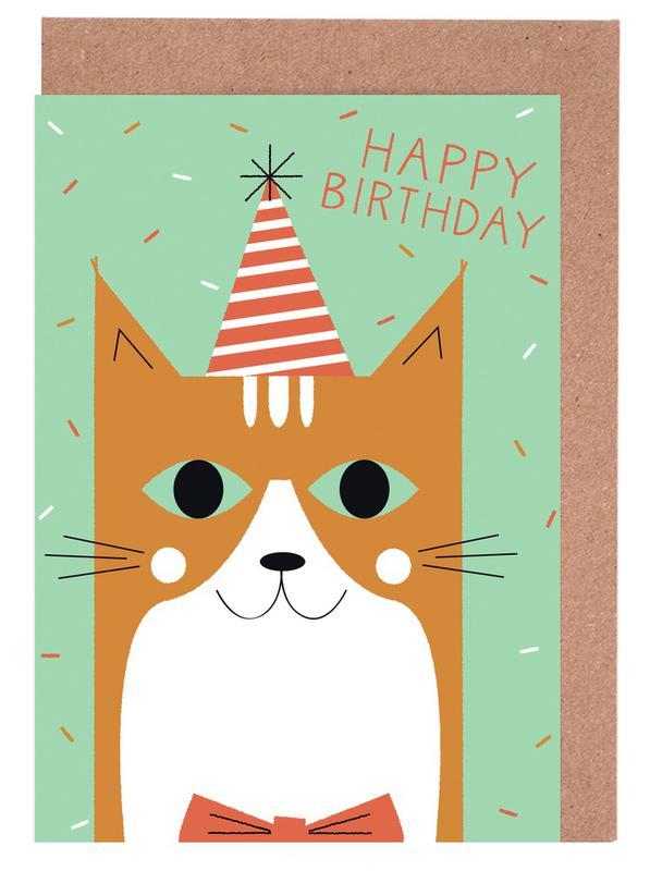 Happy Cat Birthday As Greeting Card Set By Karin Bijlsma Juniqe