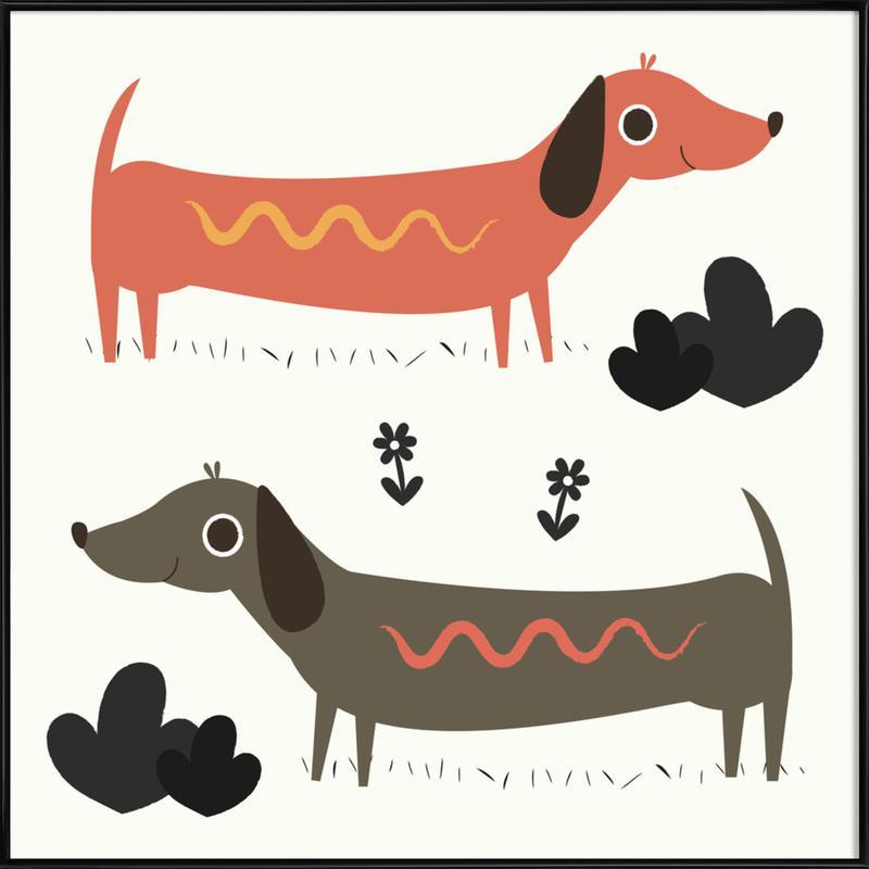 Wiener Dogs as Poster in Standard Frame by Karin Bijlsma   JUNIQE