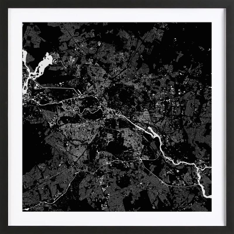 Berlin black as poster in wooden frame by urban maps juniqe uk