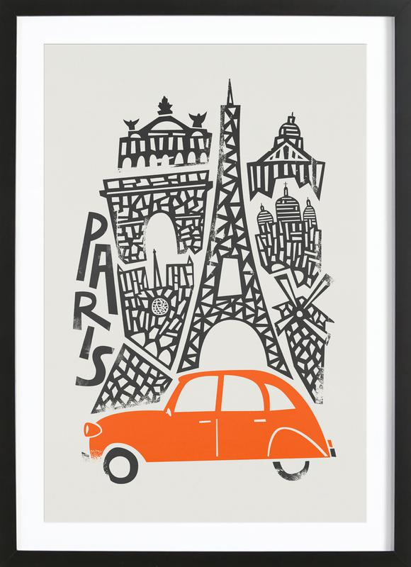 Paris cityscape als poster in houten lijst door fox velvet juniqe - Decoratie themakamer paris ...