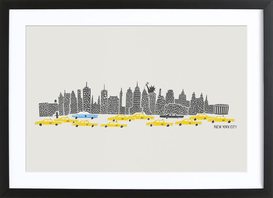 Panoramic New York as Poster in Wooden Frame by Fox & Velvet   JUNIQE