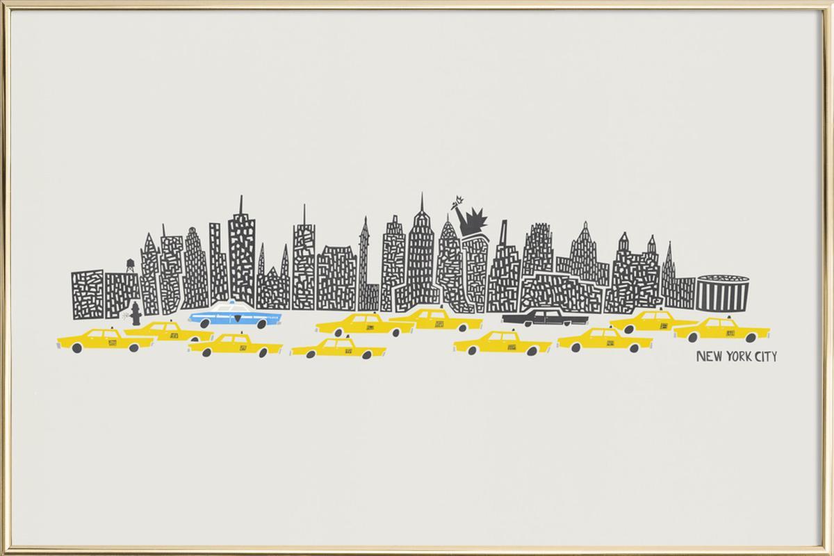 Panoramic New York as Poster in Aluminium Frame   JUNIQE UK