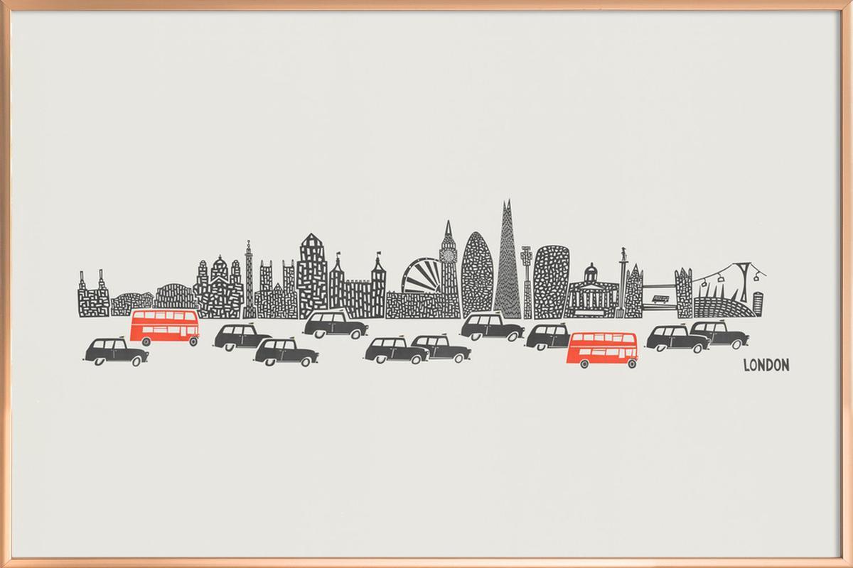 Panoramic London as Poster in Aluminium Frame by Fox & Velvet   JUNIQE