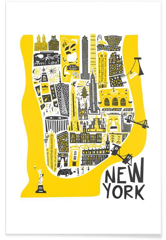 New York Map As Poster By Fox Velvet Juniqe