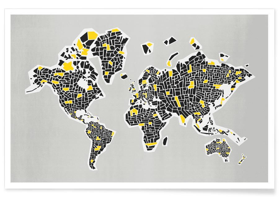 Abstract World Map As Poster By Fox Velvet Juniqe Uk