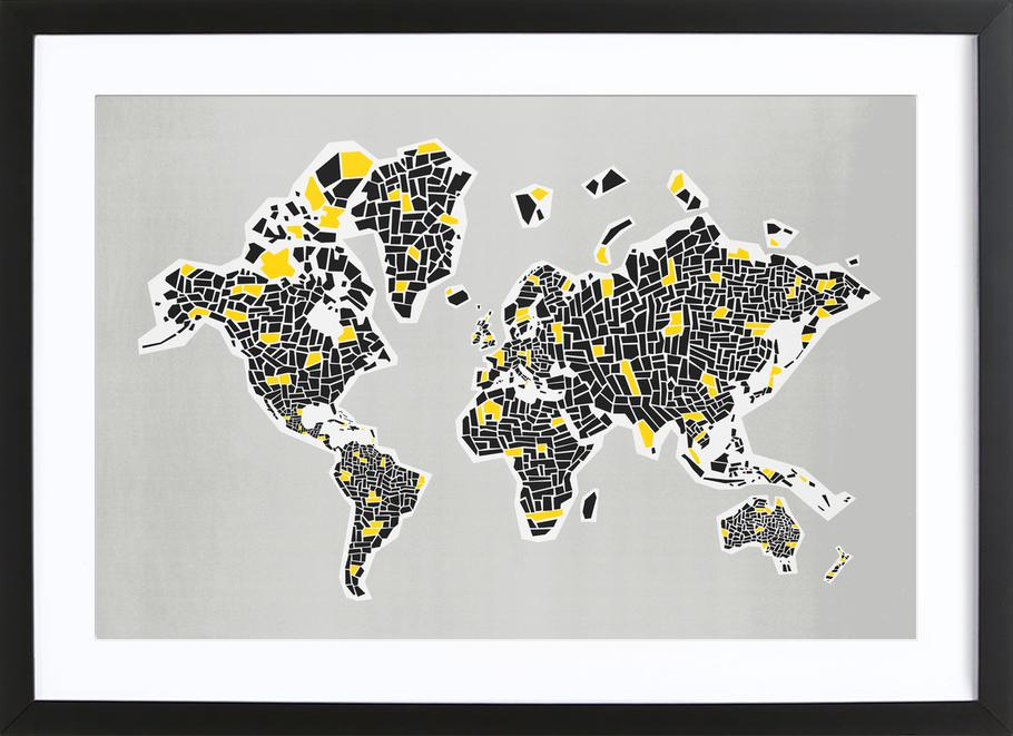 Black And White World Map Framed.Abstract World Map As Poster In Wooden Frame By Fox Velvet Juniqe Uk