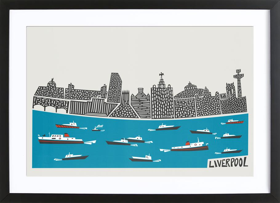 liverpool panoramic as poster in wooden frame by fox velvet