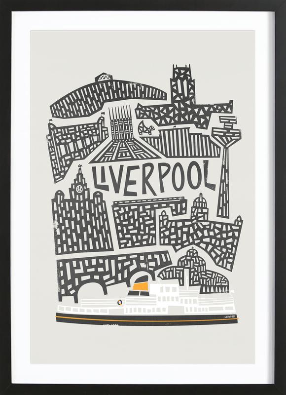 Liverpool As Poster In Wooden Frame By Fox Amp Velvet