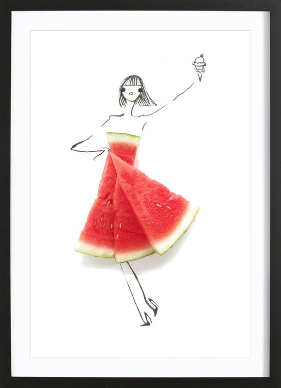 watermelon als poster im holzrahmen von gretchen roehrs juniqe ch. Black Bedroom Furniture Sets. Home Design Ideas