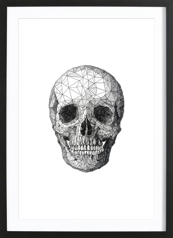 Skull as Poster in Wooden Frame by Pen & Ink | JUNIQE