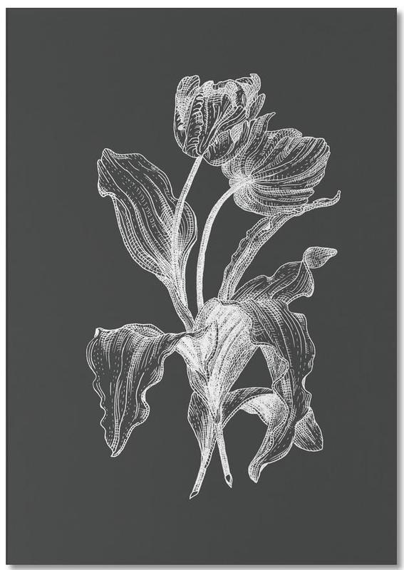 tulips white on grey als notizblock von pen ink juniqe. Black Bedroom Furniture Sets. Home Design Ideas
