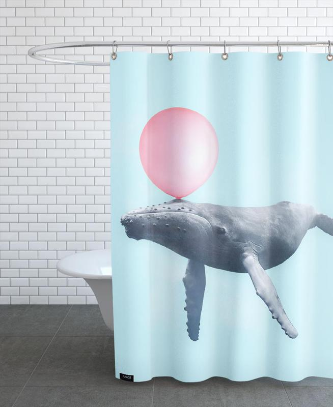 Bubblegum Whale Shower Curtain