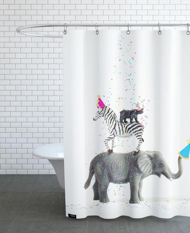 party animals als duschvorhang von juj winn juniqe ch. Black Bedroom Furniture Sets. Home Design Ideas