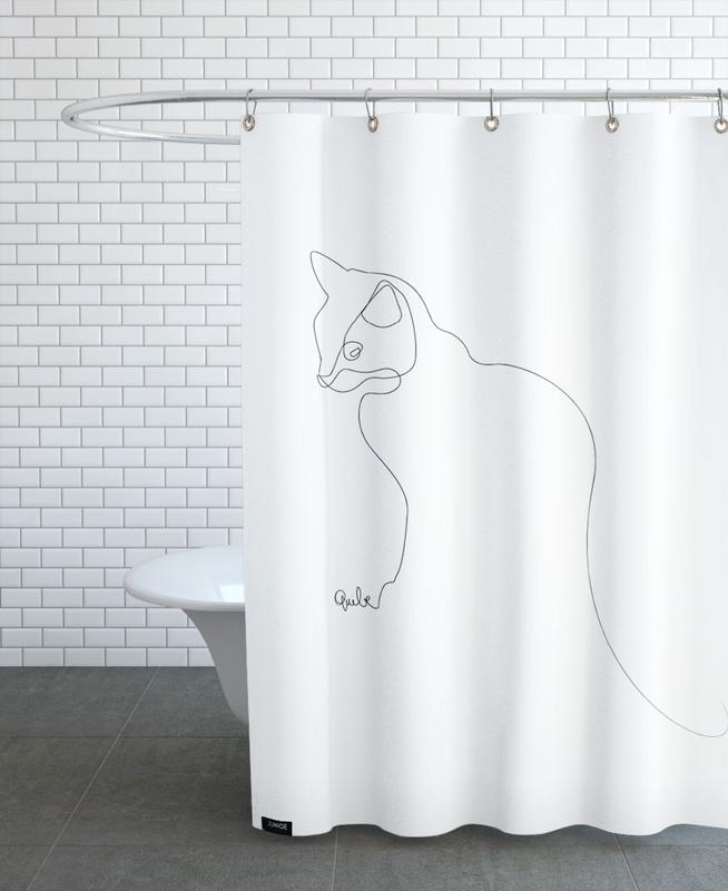 one line cat as shower curtain by quibe juniqe - Cat Curtains