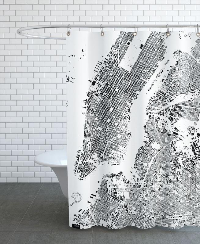 New York Map Schwarzplan As Shower Curtain By Hubert Roguski
