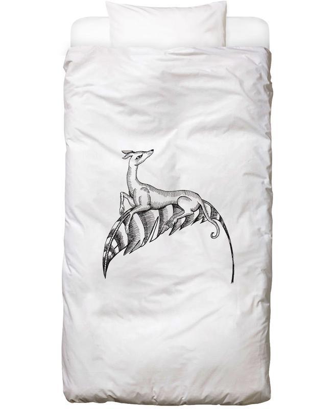 fly dog white en linge de lit par daniela roessler juniqe. Black Bedroom Furniture Sets. Home Design Ideas