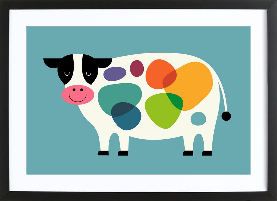 Awesome Cow as Poster in Wooden Frame by Andy Westface | JUNIQE