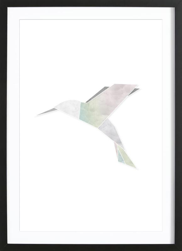 Origami Kolibri as Poster in Wooden Frame by Amy & Kurt | JUNIQE
