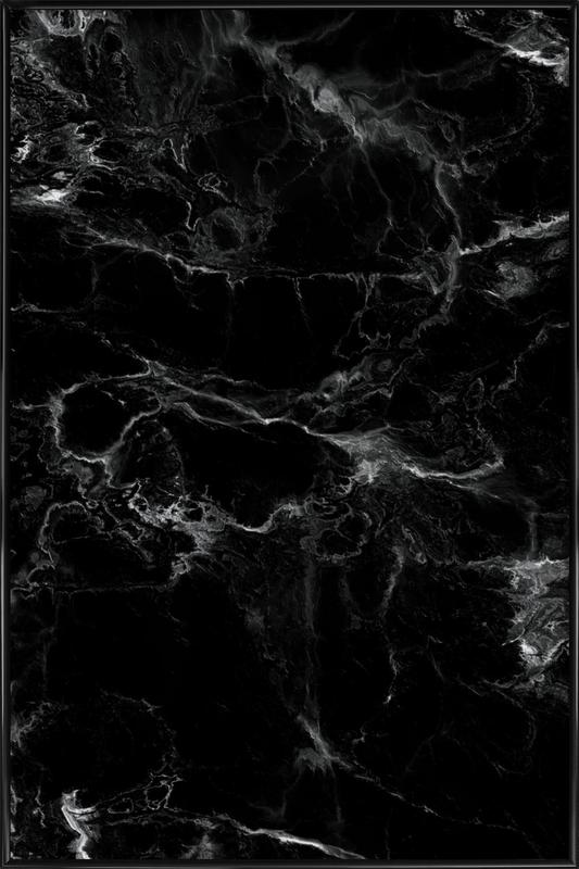 Schwarzer Marmor als Poster im Kunststoffrahmen | JUNIQE