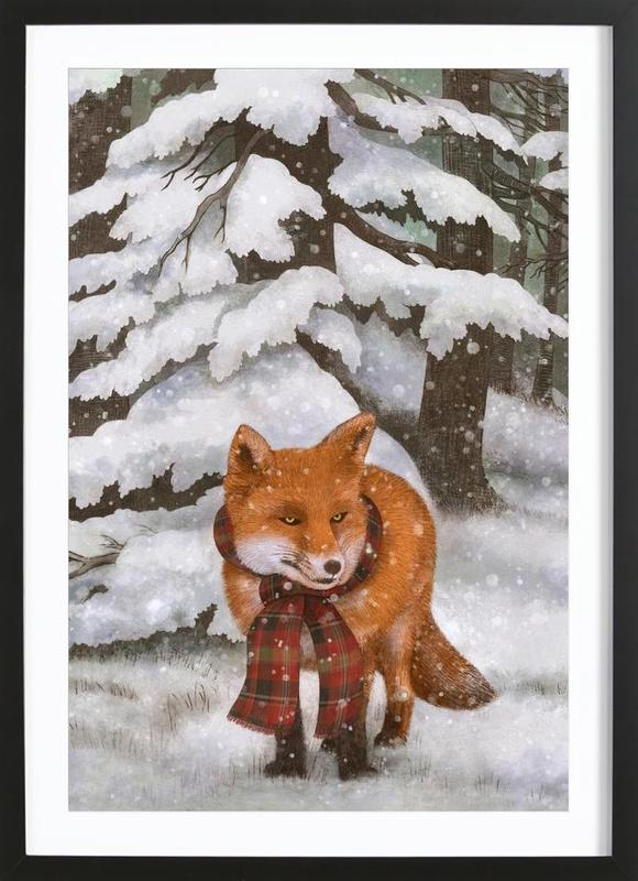 winter fox als poster im holzrahmen von terry fan juniqe. Black Bedroom Furniture Sets. Home Design Ideas