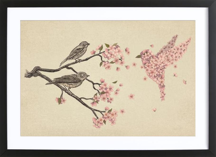 Blossom Bird as Poster in Wooden Frame by Terry Fan | JUNIQE