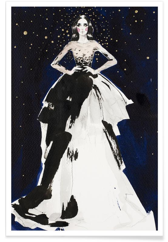 Fashion illustration dark sky as Premium Poster JUNIQE UK