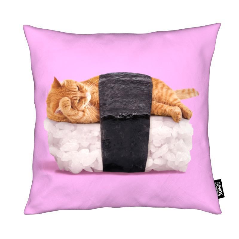 sushi cat als kissen von paul fuentes juniqe. Black Bedroom Furniture Sets. Home Design Ideas