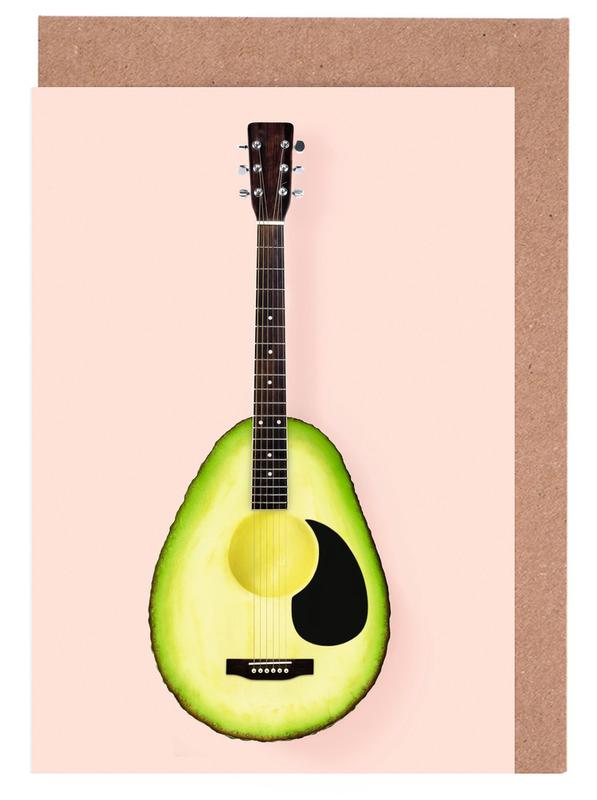 Avocado guitar as greeting card set by paul fuentes juniqe uk m4hsunfo