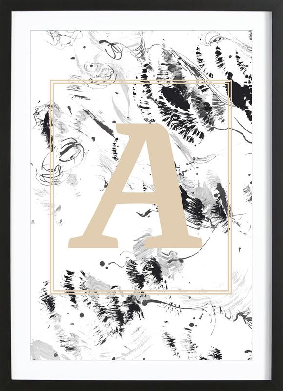A as Poster in Wooden Frame by petiteCAPS   JUNIQE UK