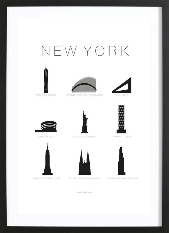 New York as Poster in Wooden Frame by SCHUMFF | JUNIQE