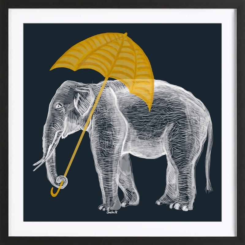 Elephant with Umbrella als Poster im Holzrahmen | JUNIQE