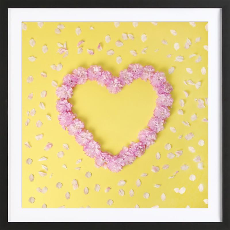 1f6e888bf99 Cherry Blossom Heart as Poster in Wooden Frame by Juj Winn