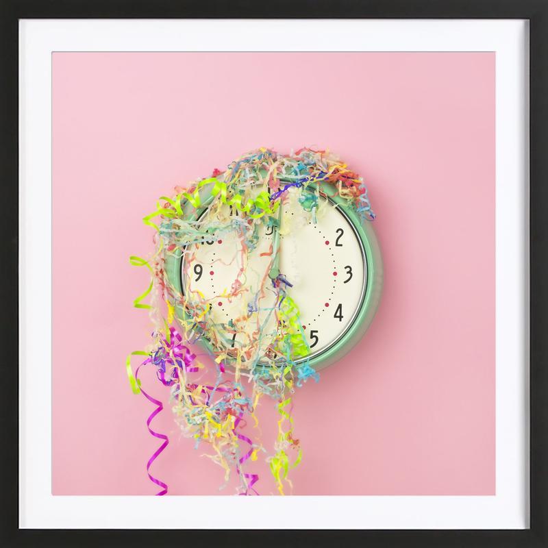 6a75718bc57 Clock Confetti as Poster in Wooden Frame by Juj Winn