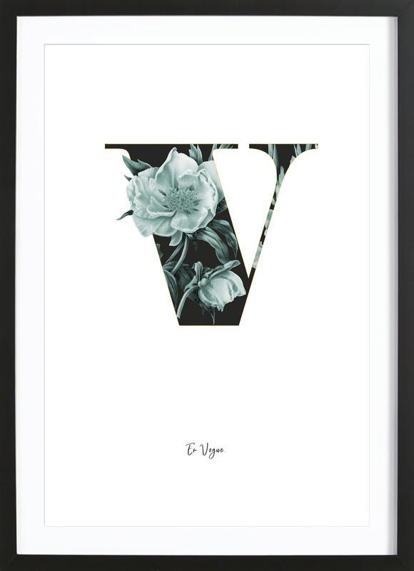 Flower Alphabet - V as Poster in Wooden Frame | JUNIQE