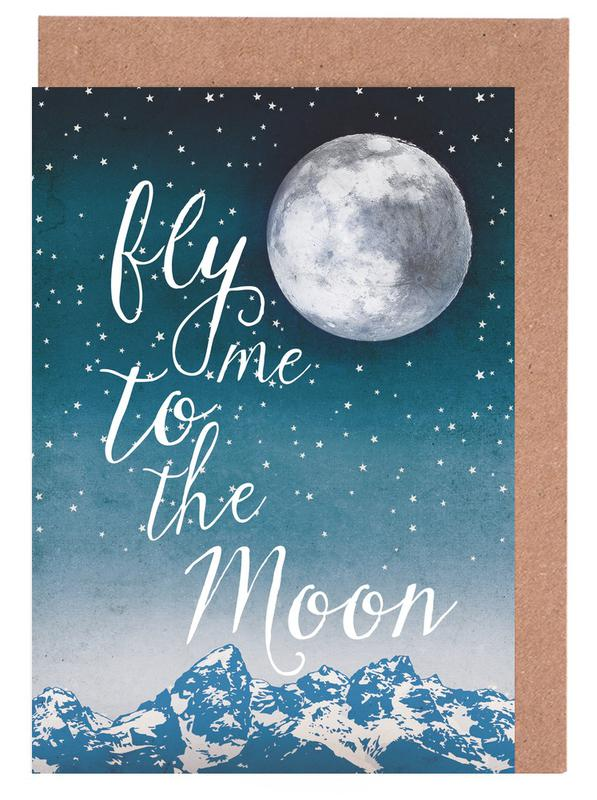 Fly me to the moon as greeting card set by treechild juniqe m4hsunfo