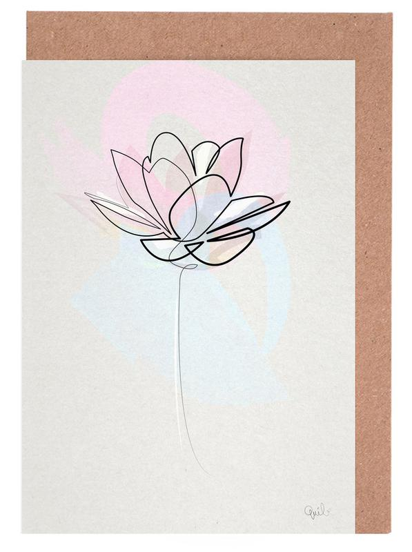 one line lotus as greeting card set by quibe juniqe