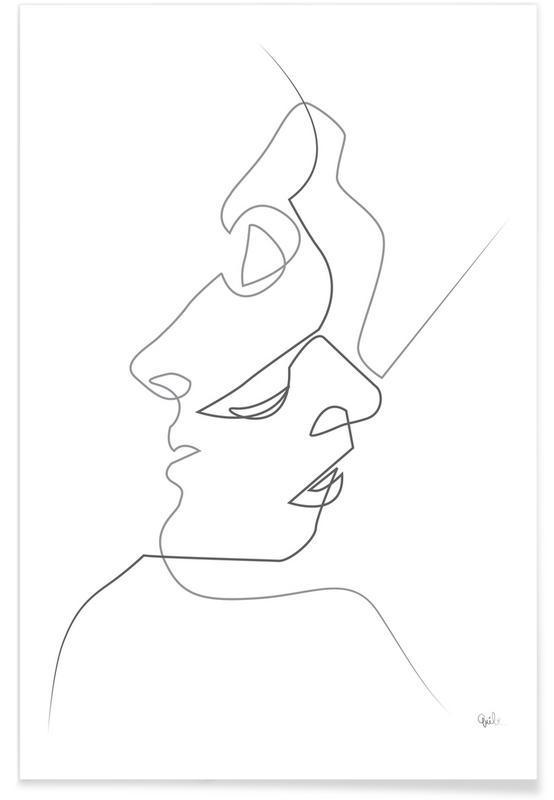Single Line Unicode Art : Close on white en affiche premium par quibe juniqe