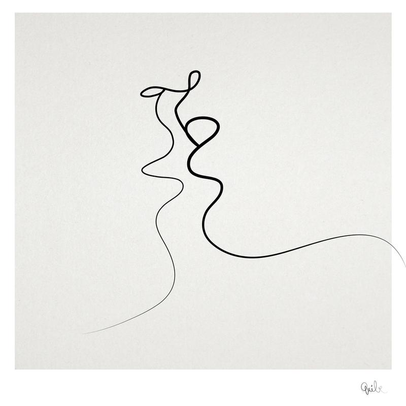 Continuous Line Drawing Quibe : Kiss en impression sur acrylique par quibe juniqe