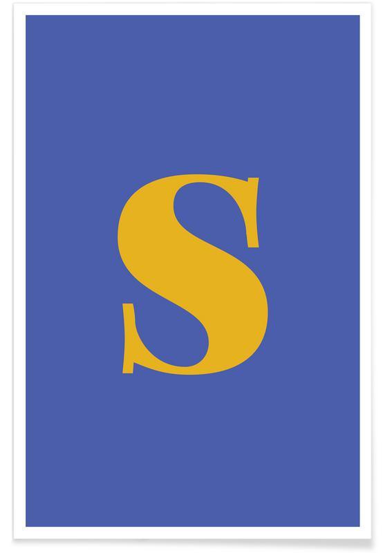 Blue Letter S Als Premium Poster Door Juniqe Juniqe