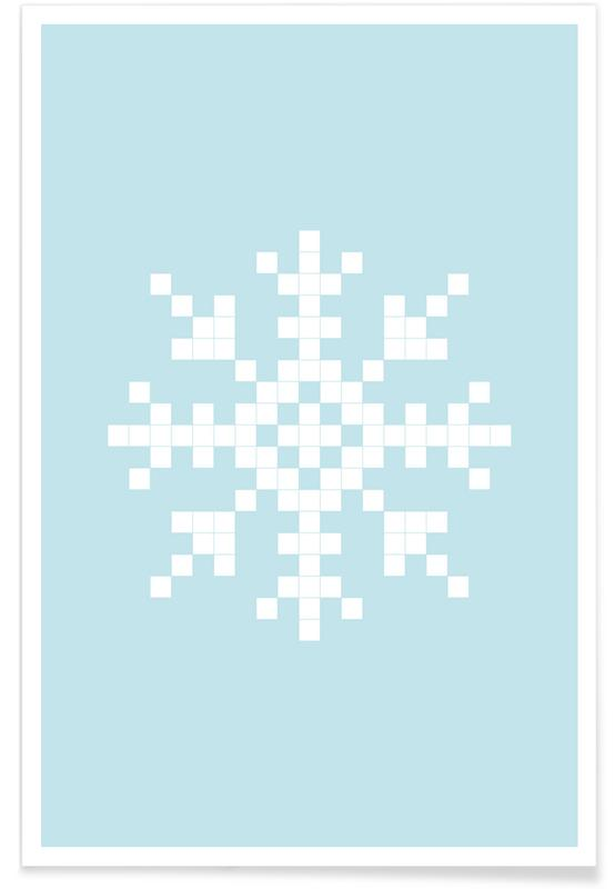 Pixel Snowflake Blue As Premium Poster By Juniqe Juniqe