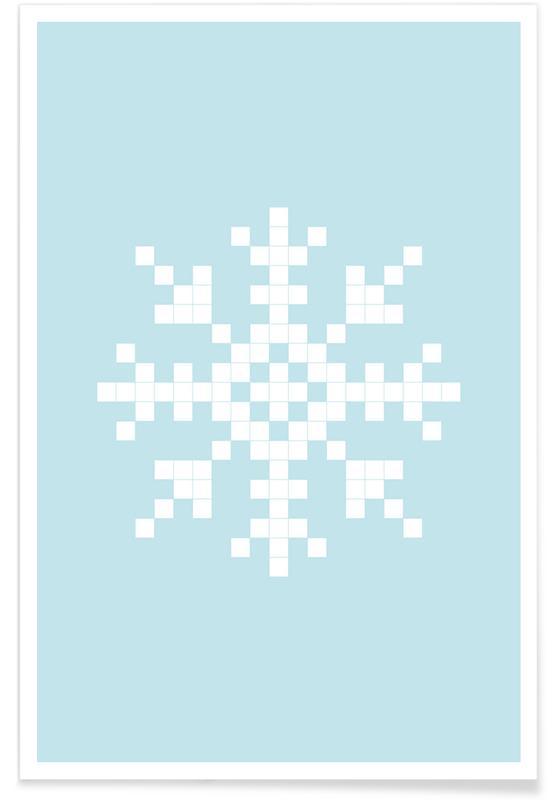 Pixel Snowflake Blue As Premium Poster By Juniqe Juniqe