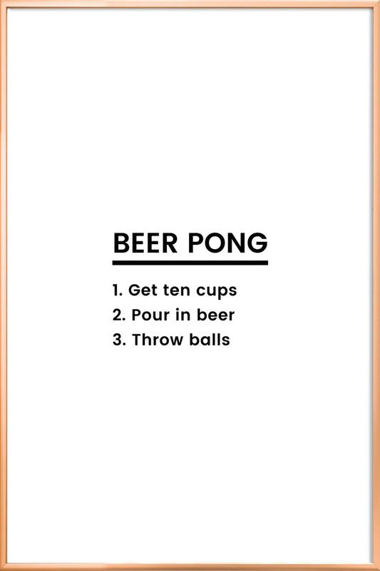 Beer Pong Recipe as Poster in Aluminium Frame by JUNIQE | JUNIQE