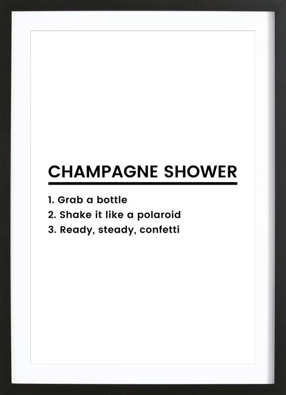 Champagne Shower Recipe as Poster in Wooden Frame by JUNIQE | JUNIQE