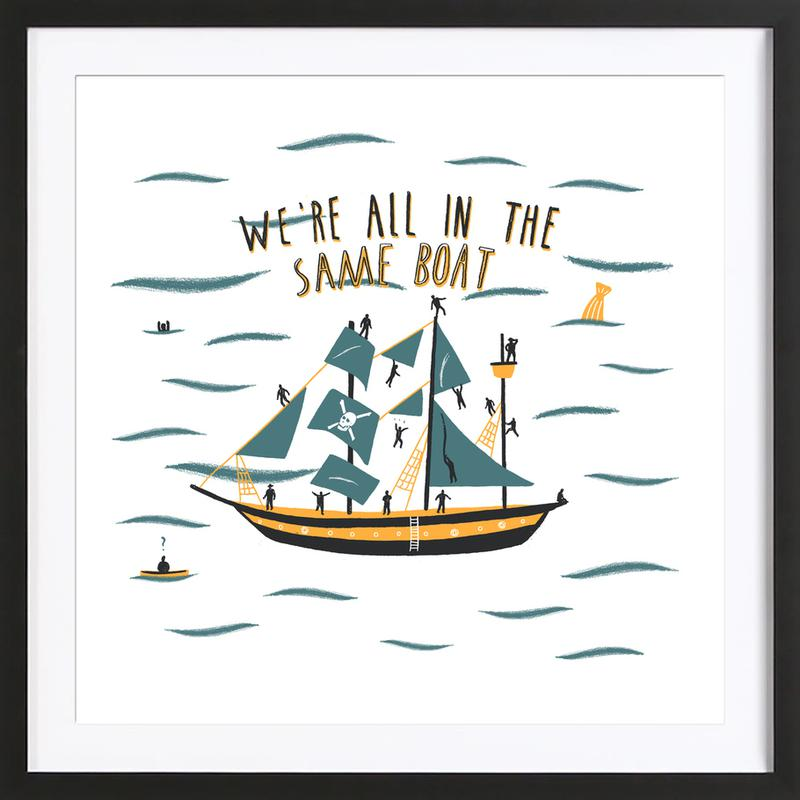 All in the Same Boat as Poster in Wooden Frame by Alex Foster | JUNIQE