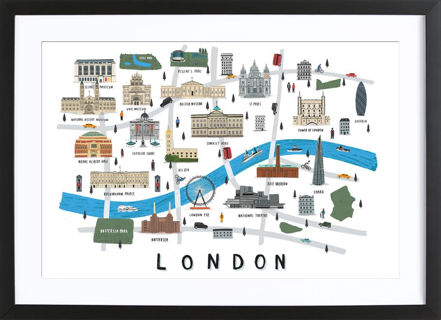 London Map as Poster in Wooden Frame by Alex Foster | JUNIQE