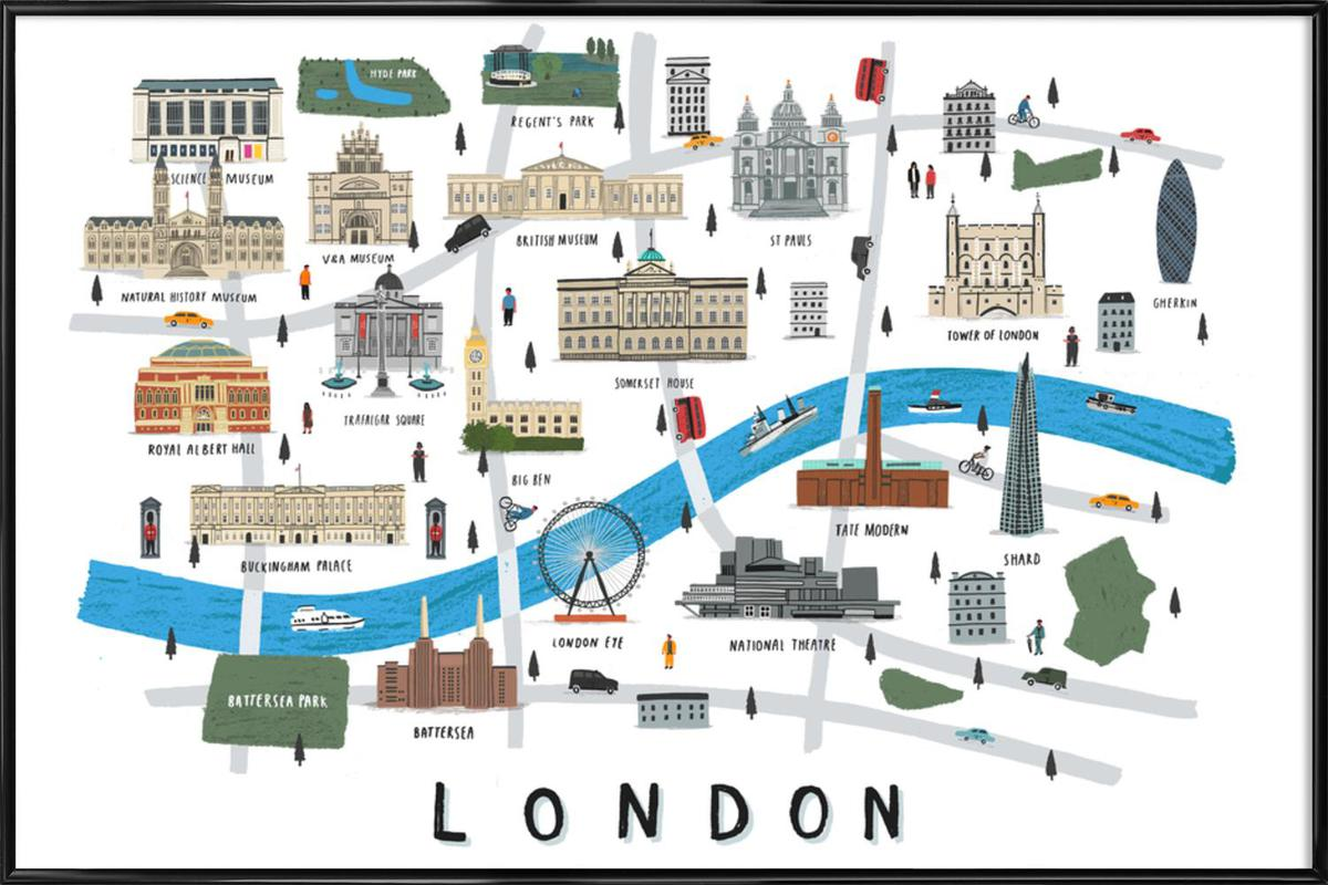 London Map as Poster in Standard Frame by Alex Foster | JUNIQE