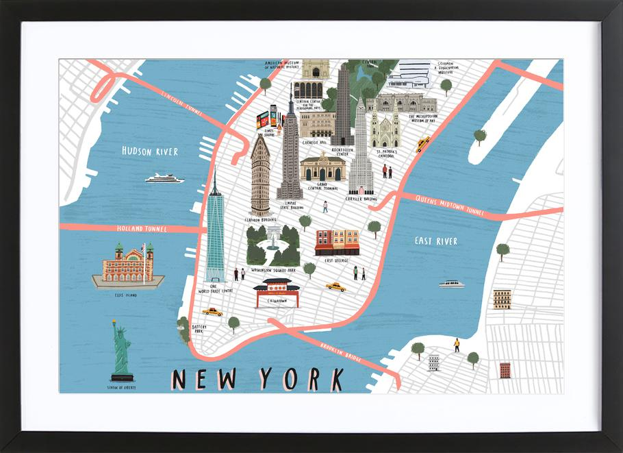 New York Map As Poster In Wooden Frame By Alex Foster Juniqe