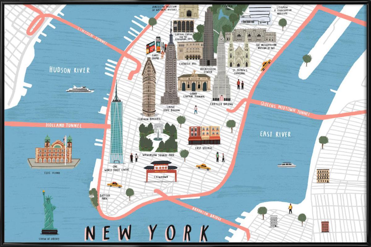 New York Map als Poster im Kunststoffrahmen von Alex Foster | JUNIQE