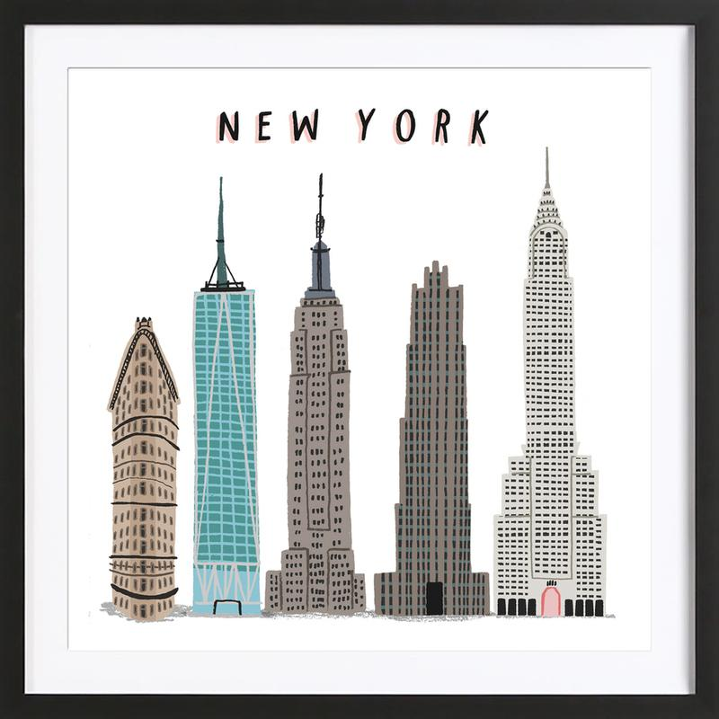 New York Buildings as Poster in Wooden Frame by Alex Foster   JUNIQE UK