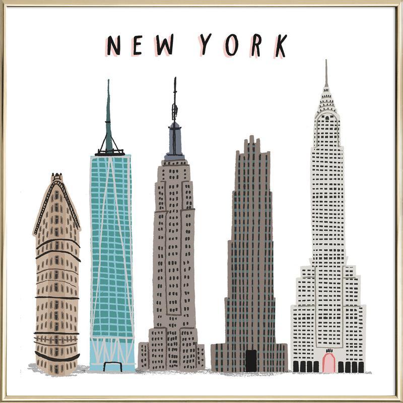 New York Buildings as Poster in Aluminium Frame   JUNIQE